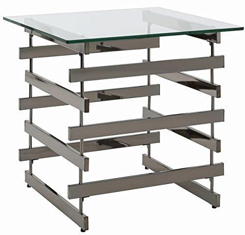 Table d'appoint en métal et verre trempé, noir nickelé - Dim : L55 x P55 x H55cm -PEGANE-