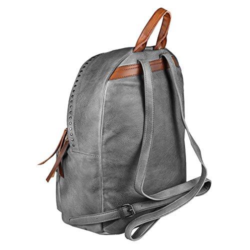 OBC DAMEN NIETEN RUCKSACK Tasche Cityrucksack Schultertasche Handtasche Shopper Daypack Backpack Kunst-Lederrucksack (Grün 35x37x15 cm) Grau 35x37x15 cm