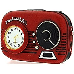 Miniature Red Transistor Radio Novelty Old Fashion Desktop Collectors Clock 9697