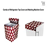 #6: E-Retailer™ Combo of Refrigerator Top Cover (With 6 Utility Pockets) And Top Load Washing Machine Cover (Color:- Maroon,Suitable For 6 KG to 8 KG )