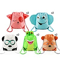 BeeGreen Animals Party Bags Drawstring Backpacks 10 pcs, Jungle Zoo Party Supplies Bags for Kids Girls Boys Birthday Gift Favour, 5 Designs Goodie Treat Bags Give Aways