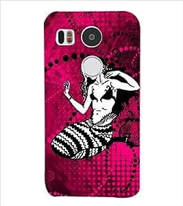 Fuson Fish Girl Back Case Cover for LG NEXUS 5X - D3766