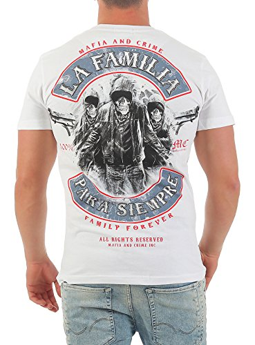 Mafia & Crime Herren T-Shirt Kurzarmshirt Para Siempre Weiß
