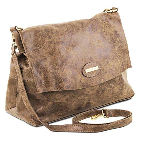 Tuscany Leather - TL Bag - Borsa a mano in pelle effetto invecchiato - TL141637 (Testa di Moro) Talpa Scuro