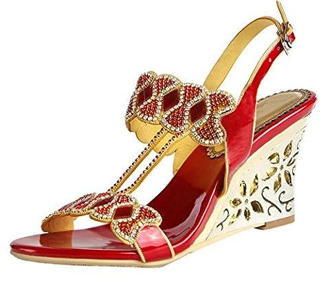 Honeystore 2017 Neuheiten Frauen Kunstleder Keilabsatz Sandalen Absatzschuhe Peep Toe mit Strass Schuhe Rot 40 (Bama Rolle)