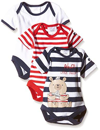 Twins Baby - Jungen Kurzarm-Body, maritimer Druck, 3 Motive, Gr. 80, Mehrfarbig (Marine/Rot/Weiss 3209)
