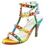 JYshoes Riemchensandaletten Damen Absatz Gladiator Sandalen High Heels Sommer Schuhe T-Steg Sandaletten mit Nieten Mehrfarbig 32.5EU