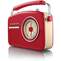 Akai A60010R Portable 4 Band Retro FM Radio, 14 W - Red - ukpricecomparsion.eu
