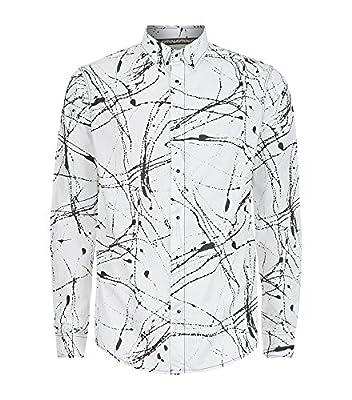 Armani Jeans Mens Paint Splatter Print Long Sleeve Shirt -B6C29 ED