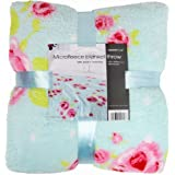 Super Soft & Luxurious Blue Vintage Rose Microfleece Blanket 150cm x 200cm