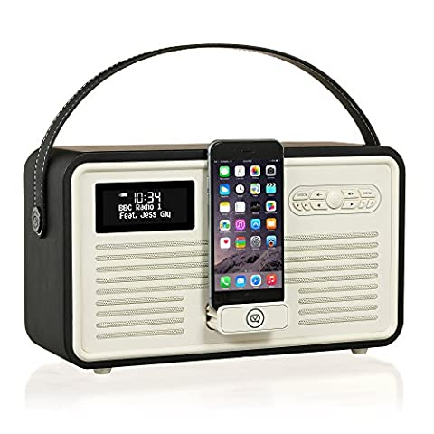 VQ Retro Mk II DAB & DAB+ Digital Radio with FM, Bluetooth, Apple Lightning Dock & Alarm Clock – Black
