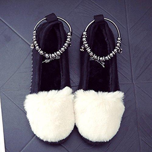DogHaccd pantofole,In autunno e inverno, soia scarpe e soggiorno elegante in una fitta e antiscivolo in cotone indoor pantofole pacchetto con scarpe di peluche Il beige3