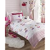 Kids Club - Juego de cama infantil, incluye funda de edredón y fundas de almohada, diseño de bailarina, color rosa