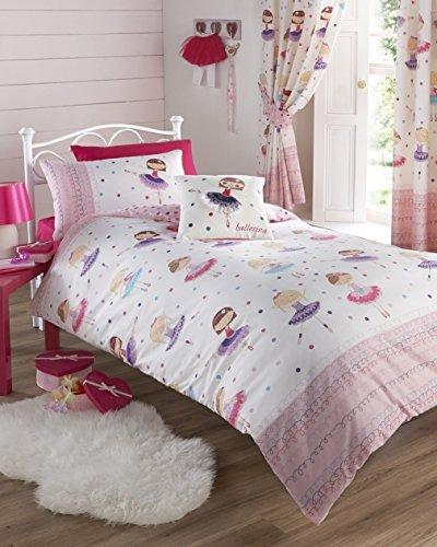 Kids Club Juego de cama infantil, incluye funda de edredón doble y 2 fundas de almohada, diseño de bailarina, color rosa