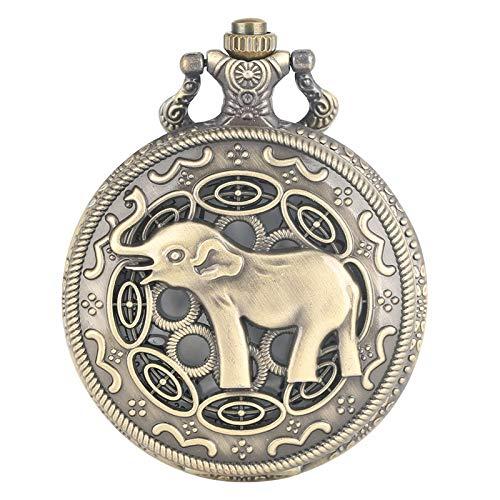 SDVIB Taschenuhr 3D Nette Lange Nase Elefanten Figur Retro Bronze Hohl Halskette Quarz Taschenuhr Mode Anhänger Uhren für Männer Frauen Kinder, Bronze