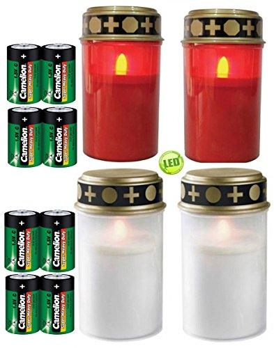 Conjunto de 4 luces graves rojo y blanco, velas LED, velas graves, incluidas las baterías