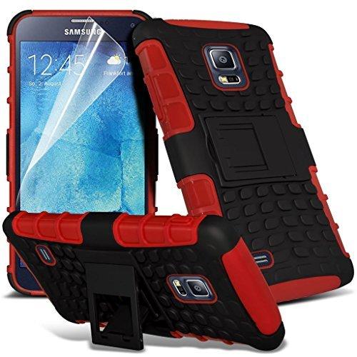 Samsung Galaxy S5 Neo hülle Tasche (Grün + Kopfhörer) Slim-Fit-Abdeckung für Samsung-Galaxie-S5 Neo-hülle Tasche Haltbarer S Linie Wellen-Gel-Kasten-Haut-Abdeckung + mit Aluminium Earbud Kopfhörer, Po Shock proof + (Red)