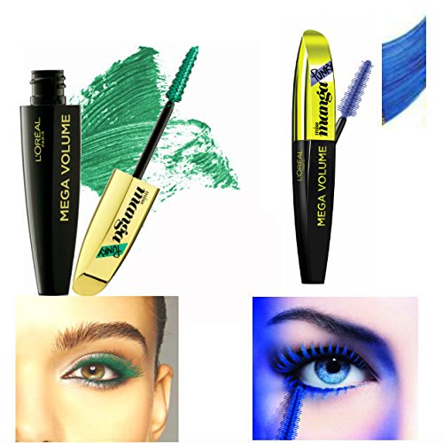 73a6694722f Kit L'Oréal Paris 1 Mega Volume Miss Manga Punky Mascara Vert Green + 1