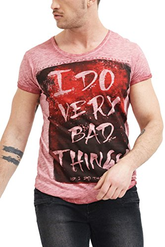 trueprodigy Herren T-Shirt Rundhals Ausschnitt Rot Kurzarm Slim Fit