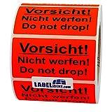 Aufkleber - Vorsicht! Nicht werfen! Do not drop! - 100 x 50 mm - 100 Stück auf Rolle, leuchtrot, permanent haftend - Versandetikett, Warnetikett, Paketaufkleber