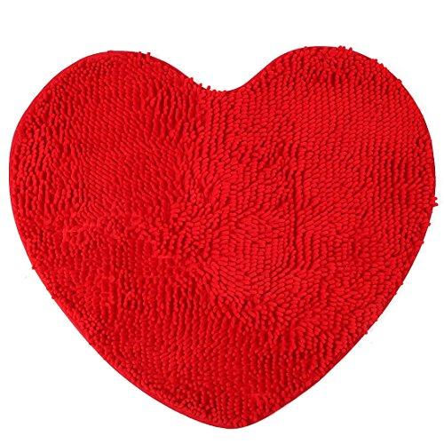 Sourcingmap camera da letto in ciniglia a forma cuore antiscivolo tappeto pavimento tappeto zerbino rosso 60cm x 70cm