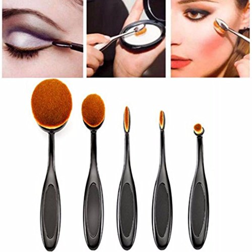 Fulltime® Kit De Pinceau Maquillage Professionnel 5PC / Set Toothbrush Style Sourcils Foundation Brush Eyeliner Pinceaux De Maquillage Kit Pinceau