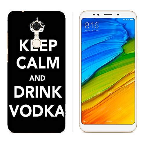 Hülle Redmi 5 Plus Case Xiaomi Redmi 5 Plus Lustige Sätze Haltet Kalm und trinkt Wodka/Cover Druck auch an den Seiten/Anti-Rutsch Anti-Rutsch Anti-Scratch Schock-resistenten Schutz Schutzulle Starre