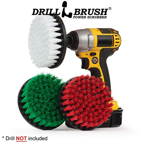 Kitchen Accessories - Scrub Stove, Oven Rack, Sink, Tile and Grout, Floors - Drill Brush - Large Spin Brush Set - Soft, Medium, and Stiff Power Scrubbers - Deck Brush - Algae, Mold, Mildew, and Moss