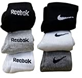 Costro branded socks for men, combo of 6 pairs branded socks with NK and RBK LOGO (Color:: Black, White & Grey)