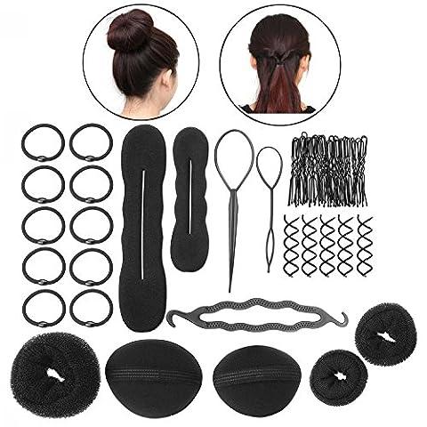 ZeWoo 8 Sortes de Accessoires de Coiffure Stylisée Magique Élastiques Pince Donut Bigoudis Chignon Torsade de Tresse Cheveux DIY