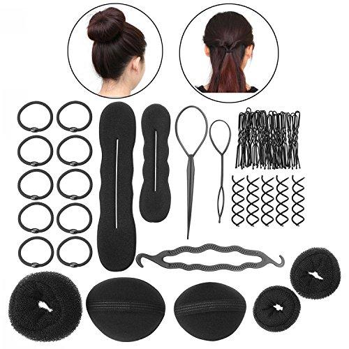 ZeWoo 8 Arten von Multistyler Haarstyling Zubehör Magic Hair Braider Clip Pads Schaum Schwamm Brötchen Donut Hair Styling Set für DIY