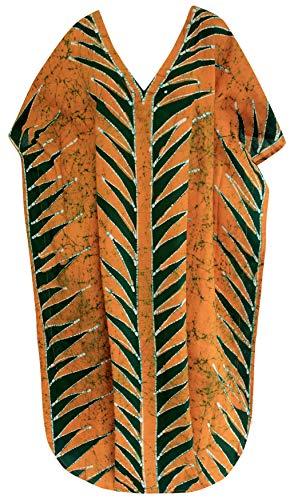 LA LEELA Lange Bikini Vertuschung Kaftan Bademode Kleider Kimono Baumwolle Batik Tunika Maxi l-4x