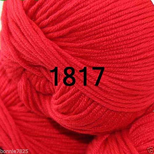 sanshao Sale 1 Knäuel x 50g DK Baby Kaschmir Seide Wolle Kinder Hand Stricken Häkelgarn, 1817 Hot Red -