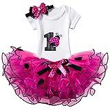 NNJXD Ragazza Shinny Stripe Bambina Senza Maniche/Tutu Manica Lunga Stampa/Vestito da Compleanno (1 Anni, 11 Colore Rosa)