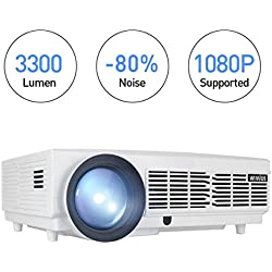 Proyector Full HD, Proyectores LED 1080P Proyector Video 3300 Lúmenes T6 Projector LCD Home Cinema Contraste 3000:1 Videoproyector Apoyo 1920*1080 HDMI VGA USB SD para PC TV Juego Hogar PS4 XBOX-Blanco