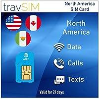 travSIM AT&T Prepaid Nordamerika SIM-Karte (Vereinigte Staaten, Kanada & Mexiko) - Unbegrenzte* 4G LTE-Daten, Lokale Sprachanrufe & Textnachrichten Gültig Für 21 Tage