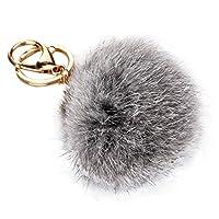 Sikye Faux Fur Pom Pom Keychain for Handbag Decoration,Cell Phone, Car Keyring, Purse Charm Fluffy Puff Ball (Gray 2)