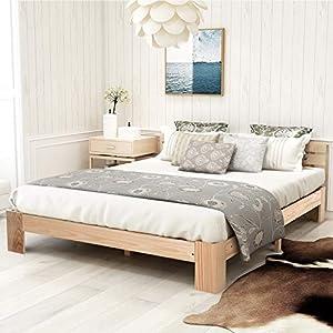 Modern Luxe Holzbett Doppelbett mit Kopfteil aus Bettgestell mit Lattenrost - Anzug für 200 x 140 cm Matratze Massivholz FSC Massiv Doppelbett als Ehebett verwendbar, inkl. Rückenlehne (Natur)