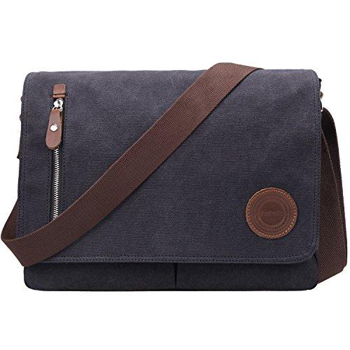 Umhängetasche Herren Fafada Unisex Vintage Canvas Schultertasche Messenger Bag Aktentasche für 14 Zoll Laptop A4 Ordner Arbeit Uni Reise Sport (Messenger Herren)