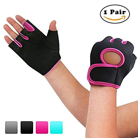 nlife Power Grip Half Finger Sports Gants, Exercise Gants Idéal pour le cyclisme, Aviron, entraînement haltérophilie et Cross Fit S Rose