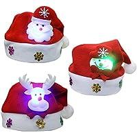 3pcs unisex lindos de Navidad para niños Santa Claus gorra sombrero con luz LED decoración de Navidad para niños chicos niñas