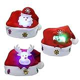 Beetest 3pcs Unisex Lindos de Navidad para niños Santa Claus Gorra Sombrero con luz LED decoración de Navidad para niños Chicos niñas