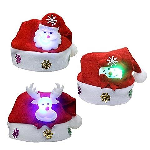 3PCS Noël de Casquette,Vococal® Chapeau de Noël Enfants Mignons de Noël de Fête de Noël de Santa Claus de la Casquette avec la Lumière LED