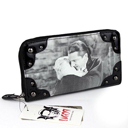Dracula Mujer Gótico–Cartera Good Night Kiss Vintage Patent XL Tipo Monedero con tachuelas