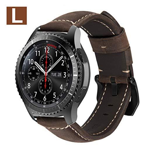 MroTech Lederarmband für Gear S3 Armband 22mm Uhrenarmband Leder Uhrenband kompatibel für Samsung Gear S3 Frontier Classic,Galaxy Watch 46mm, Fossil Herren Smartwatch Ersatzarmband-Dunkelbraun/L (Herren-22mm Uhrenarmbänder)