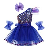 IEFIEL Vestido Danza Niña Disfraz de Bailarina de Ballet Latín Jazz Vestido Princesa con Lentejuelas Dancewear Infantil 3-14 Años Azul 7-8 Años