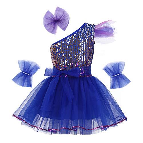 dPois Mädchen Tanz Kleidung Outfit Set Glänzend Pailletten Tanzkleid Ballettkleid mit Kopfbedeckung und Armband Ballettkleidung für Performance Party Gr.98-164 Blau 98-104/3-4 ()