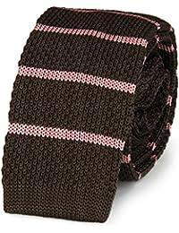 Cravate tricot MARRON bandes ROSE