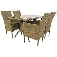 Conjunto muebles jardín | Mesa 120x70x74 cm y 4 sillones apilables | Aluminio y rattán sintético