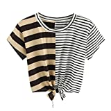 TUDUZ Damen Sommer Kurzarm O-Ausschnitt Streifen Tee Bow Bandage Bluse Tops T-Shirt Oberteil (Mehrfarbig-A, S)